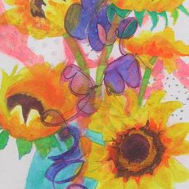Sunflowers and Blue Bowl by Kathy Braud