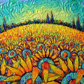 SUNFLOWERS BLOOMING PLANET Provence abstract landscape palette knife oil painting Ana Maria Edulescu by Ana Maria Edulescu