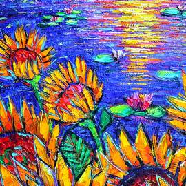 SUNFLOWERS BY WATERLILY POND abstract textural impasto palette knife oil painting Ana Maria Edulescu by Ana Maria Edulescu