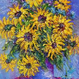Sunflowers in a Blue Vase by Amalia Suruceanu