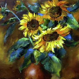 Sunflowers in a vase Still life Oil Painting Handmade Art Work One of a Kind by Elena Zorina