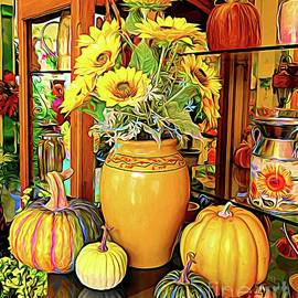 Sunflowers in Vase with Pumpkins Abstract Expressionism Effect by Rose Santuci-Sofranko
