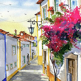 Sunny Day In Obidos Portugal Painting  by Dora Hathazi Mendes