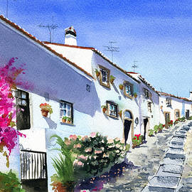 Sunny Street in a Alentejo Village in Portugal by Dora Hathazi Mendes