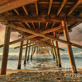 Sunrise at Bogue Inlet Pier Beach Seascape Outer Banks North Carolina by Kelley Freel-Ebner