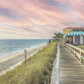 Sunrise at the Beach Boardwalk in Soft Beachhouse Hues by Debra and Dave Vanderlaan