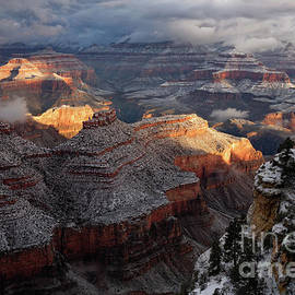 Sunrise on Grand Canyon National Park after Dusting of Winter Snow by Tom Schwabel
