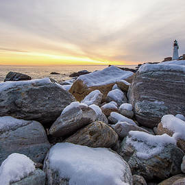 Sunrise Snowfall at Portland Head Light, Maine by Bob Cuthbert