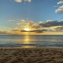 Oahu HI Foot Prints In The Sand Tracks Beach Park Pacific Sunset Seascape Art  by Andrea Callaway