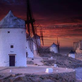 Sunset At Don Quixote Windmills, Conseugra Spain