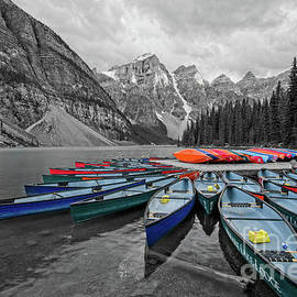 Sunset at Moraine Lake in selective color by Paul Quinn