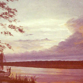 Murrells Inlet Sunset Vintage Oil Painting by Catherine Ludwig Donleycott