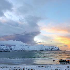 Sunset at Ramberg beach, Lofoten, Northland by Dubi Roman