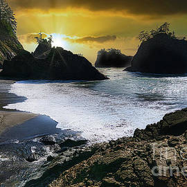 Sunset At Secret Beach Oregon by Michele Hancock