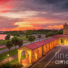 Sunset at the Train Depot in Venice, Florida, Painterly by Liesl Walsh
