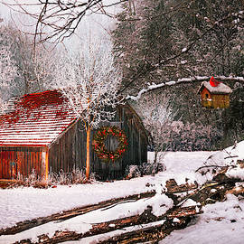 Sunset Barn in the Snow  by Debra and Dave Vanderlaan