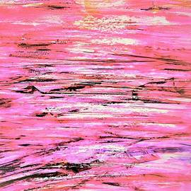 Sunset Beach Walk- Abstract Pink by Patty Donoghue