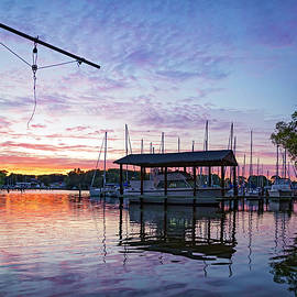 Sunset Behind The Masts by Brian Wallace