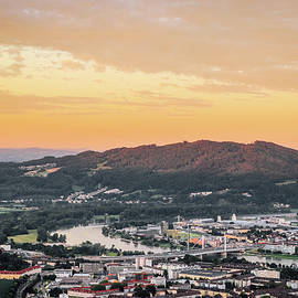 Sunset falls on city of Linz by Vaclav Sonnek