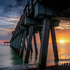 Sunset Glow at Venice Fishing Pier, Florida by Liesl Walsh