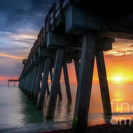 Sunset Glow at Venice Fishing Pier, Florida, Watercolor by Liesl Walsh