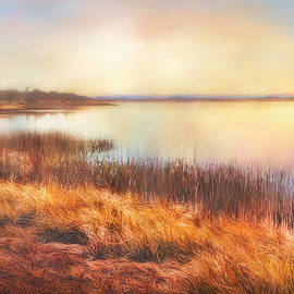 Sunset Great Salt Plains Lake In Oklahoma by Ann Powell
