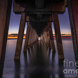 Sunset Line at Venice Fishing Pier, Florida by Liesl Walsh