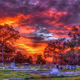 Greensboro Georgia Cemetery Sunset Landscape Art by Reid Callaway