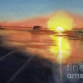 Sunset on Pier by Vicki B Littell