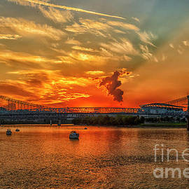 Sunset on the Ohio River by Teresa Jack