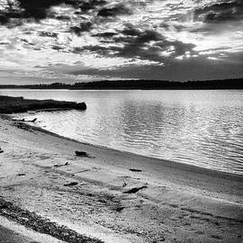 Sunset Over Little Assawoman Bay in Black and White by Bill Swartwout Photography
