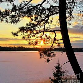 Sunset Over the Frozen Lake, Minnesota by Ann Brown