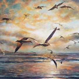 Sunset over the sea by Vali Irina Ciobanu