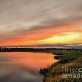 Sunset Over Woodland Marsh Rural / Coastal Nature Landscape Photograph by Melissa Fague