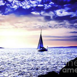 Sunset Sailing at Edmonds Washington by Eddie Eastwood