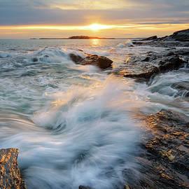 Sunset Waves at Cape Elizabeth by Kristen Wilkinson