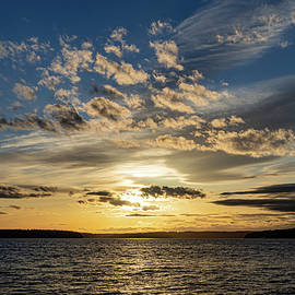 Sunset with Mixed Clouds by Andrew Cottrill