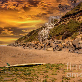 Swami's Beach Summer Sunset by Mitch Shindelbower
