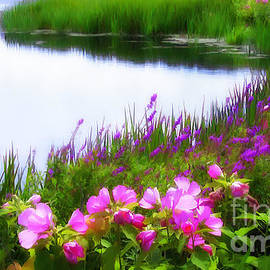 Swamp Rose Mallows at Water's Edge by Mike Nellums