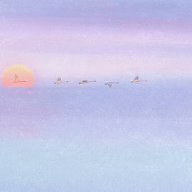 Swans in Flight with Sunset Watercolor Texture by Patti Deters