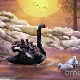 Swans Swimming At Sunset by Lois Bryan