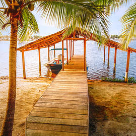 Swaying Palms Over the Dock by Debra and Dave Vanderlaan