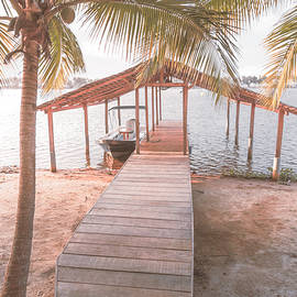 Swaying Palms Over the Dock in Pale Colors by Debra and Dave Vanderlaan