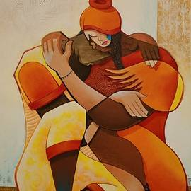 Sweet love, large painting by Jafeth Moiane