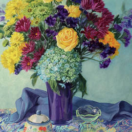 Sweet Valentine - Floral Still Life Painting with Yellow Roses by Bonnie Mason