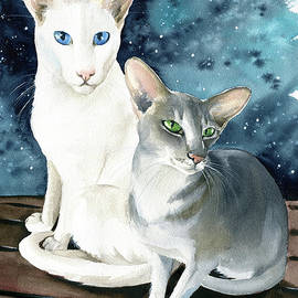 Sweetie And Honey Oriental Cat Painting by Dora Hathazi Mendes
