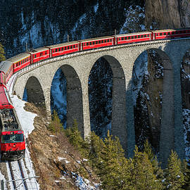 Swiss mountain train, Graubunden, Switzerland by Stefano Politi Markovina
