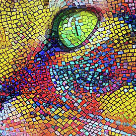 Tabby Cat Colorful Mosaic by Peggy Collins