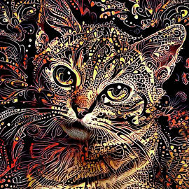 Tabby Kitten Art by Peggy Collins