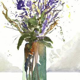 Tall Purple Flowers In Narrow Green Vase